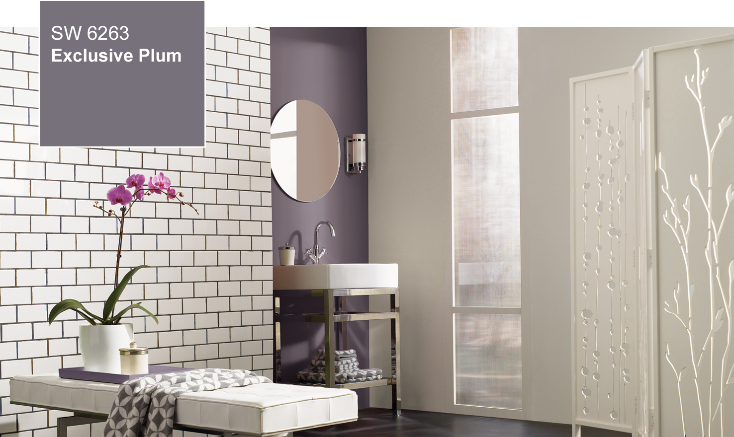 Exclusive Plum used as an accent wall in a bathroom. Sherwin Williams 2014 Color of the Year  Exclusive Plum
