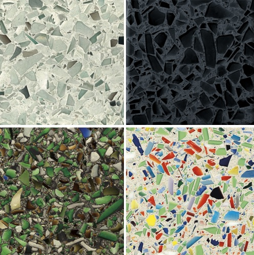 Some Beautiful Options From Vetrazzo. Top Left: Palladian Gray. Top Right:  Midnight