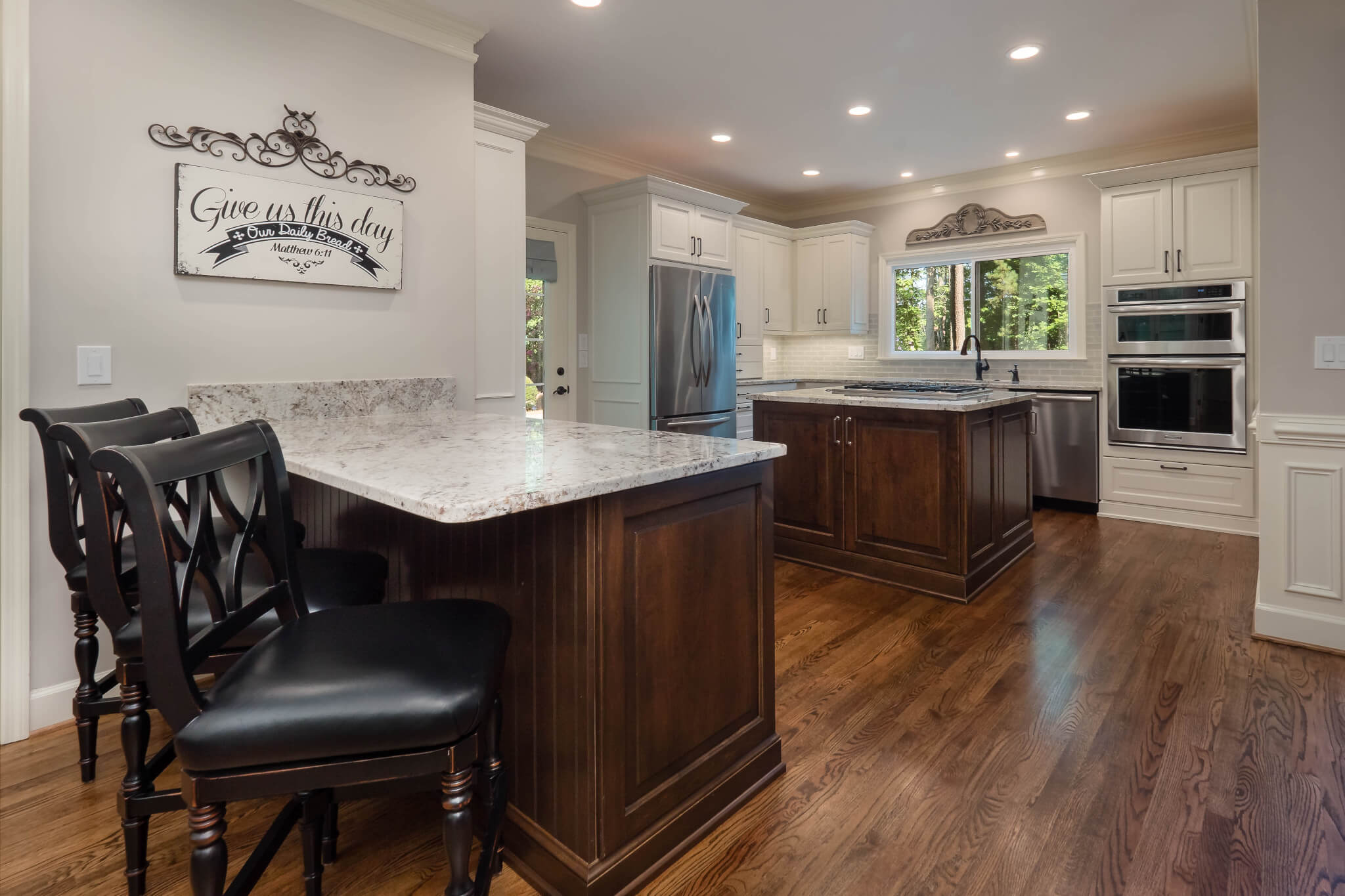 Even before closing on the house we started designing the new floor plan the kitchen was very dark and the u shape layout made it seem crowded and