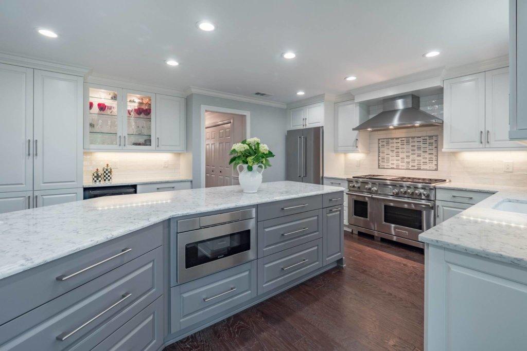 White Cabinets Gray Countertops White Backsplash